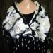 #12sw Black and white small nuno grid shawl wool silk cashmere blend with silk grid shibori shaped thumbnail