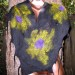 #17sw Tissue felt shawl with black merino and romney locks  thumbnail
