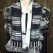 19SC Black & White silk habotai shibori scarf w/ shibori silk organza band, kimono border & silk organza shibori ruffle thumbnail