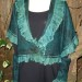 #19sw Teal Designer Italian wool and mohair Knit shawl with organza ruffle and matching cuffs SOLD  thumbnail