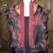 1SC Black & Bordeaux shibori silk organza scarf w/ ruffle & silk  band  thumbnail