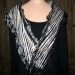 #1sw Black and white neck wrap felted  blend of ultra-fine Merino silk and cashmere with organza ruffles shibori dyed. SOLD thumbnail