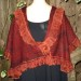 #21sw Rust Designer Italian wool and mohair Knit shawl with organza ruffles and matching cuffs (see #18)  thumbnail