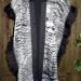 23SC Black & White scoured shantung organza shibori shawl w/ silk mesh band and silk organza ruffle thumbnail