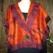 #26sw Rust and Bordeaux Cashmere shibori shawl with organza ruffle SOLD thumbnail