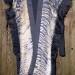 27SC Bronze & Black silk mesh shibori scarf shawl w/ black silk organza ruffle thumbnail