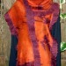 #27sw  Rust and bordeaux shibori extra-long body wrap with organza ruffle  thumbnail
