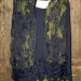 #30sw Olive and black shibori scrunch shawl or scarf with felted grid border  thumbnail