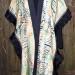36SC Celedon Amber & Black silk habotai shibori shawl w/ silk mesh band & black organza ruffle thumbnail