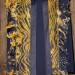 3SC Gold & Black silk organza net shibori scarf w/ silk organza shibori ruffle  thumbnail