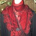 #3sw Red and black cashmere knit shibori neck wrap can be worn 2 ways as shown in #1 SOLD thumbnail