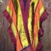 40SC Tibetan Shawl Bordeaux Chartruese & Copper pieced shawl w/ Katazome Devore' & silk organza ruffle thumbnail