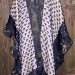 51SC Pieced Shawl w/ Designer tassel fabric Pieced silk organza & vintage kimono band w/ vintage kimono borders & silk organza shibori bands SOLD thumbnail