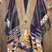 53SC Black & Bronze pieced shawl w/ silk black obi & silk & linen rib band w/ vintage kimono & designer lazer-cut diamond fabric inserts & silk organza shibori ruffle thumbnail
