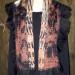 9SC Salmon & black organza shibori scarf w/ silk chiffon shibori band & black ruffles SOLD thumbnail
