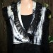 #9sw  Black and white shibori cashmere neck wrap with organza ruffle can be worn 2 ways as seen in #10 SOLD thumbnail