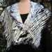 060 Lux Fiber Blend Shibori wrap with silk ruffle thumbnail