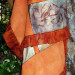 105 Silver and Persimmon Botanically printed pieced shawl thumbnail