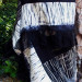 116 Black and White Pieced Shibori shawl with vintage kimono and silk shibori thumbnail