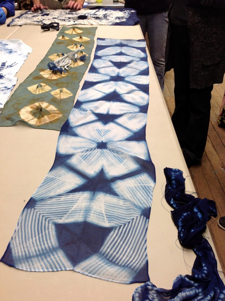 itajime shibori with carved blocks