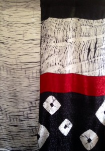 Black and white pieced shibori