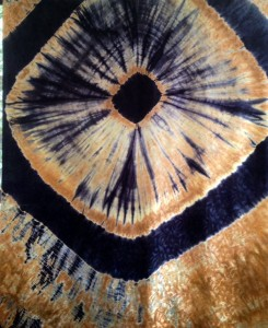 Shibori on silk jacquard